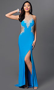 Image of floor length thigh slit sheer illusion cut out dress  Style: DJ-1987 Back Image