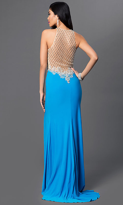 Image of floor length thigh slit sheer illusion cut out dress  Style: DJ-1987 Front Image