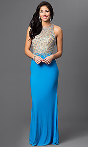 Image of long turquoise open back beaded illusion bodice dress   Style: DJ-2019 Front Image