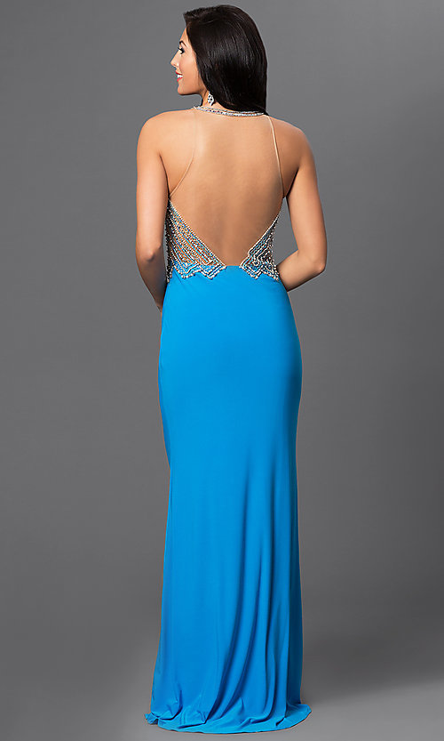 Image of long turquoise open back beaded illusion bodice dress   Style: DJ-2019 Back Image