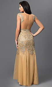 Image of long gold sheer illusion open back beaded lace dress  Style: DJ-1655 Back Image