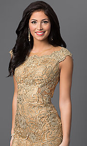 Image of long gold sheer illusion open back beaded lace dress  Style: DJ-1655 Detail Image 1