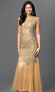 Long Gold Beaded Lace Open Back Prom Dress