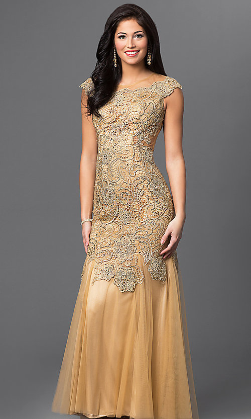 Image of long gold sheer illusion open back beaded lace dress  Style: DJ-1655 Front Image
