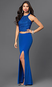 Long Royal Blue Two Piece Dave & Johnny Prom Dress