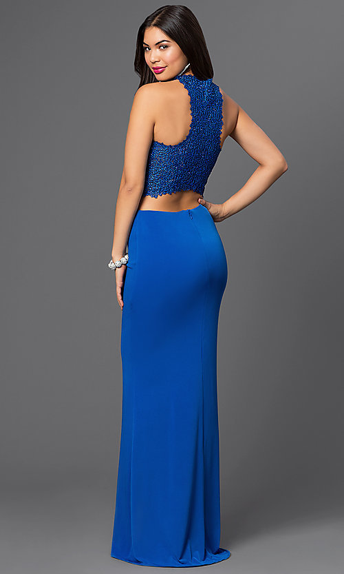 Image of Two Piece Royal Blue Long Prom Dress Style: DJ-2110 Back Image