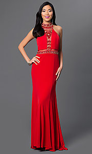 Image of long red beaded bodice sheer back cut out dress  Style: DJ-1614 Front Image