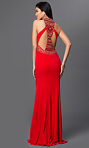 Image of long red beaded bodice sheer back cut out dress  Style: DJ-1614 Back Image