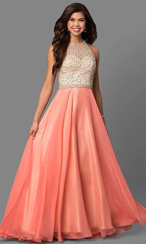 9e088b94f60e Image of Long Coral Prom Dress With Beaded Bodice Style: DJ-1725 Front Image