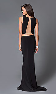 Image of open-back two-piece long prom dress by Dave and Johnny  Style: DJ-1817 Back Image