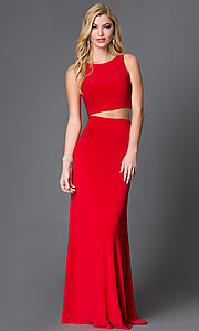Image of open-back two-piece long prom dress by Dave and Johnny  Style: DJ-1817 Front Image