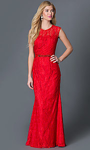 Red Floor Length Lace Dress with Sheer Back by Dave and Johnny