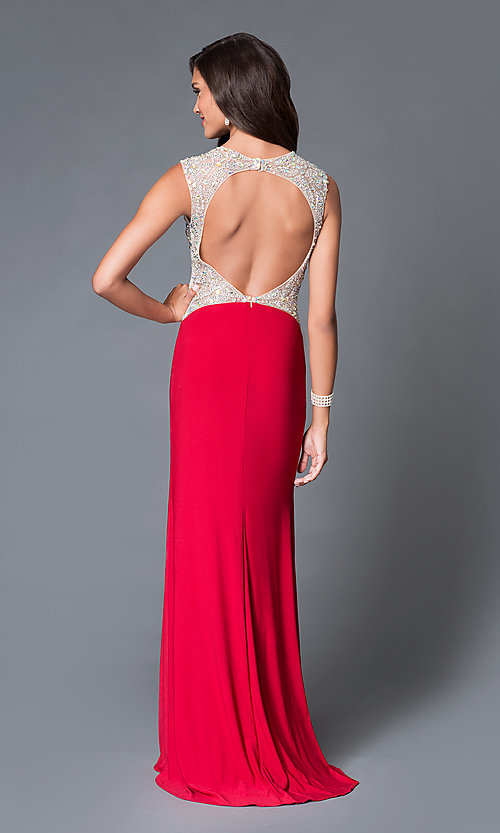 Image of long sleeveless beaded open back dress  Style: DJ-1659 Back Image