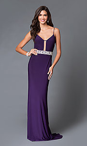 Eggplant Purple Long Jersey Beaded Dress With Open Back by Dave and Johnny