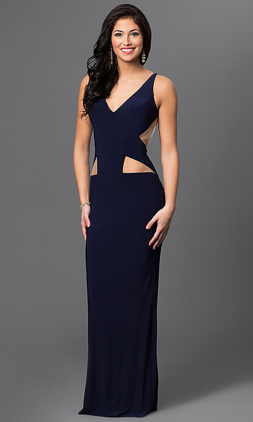Image of long sleeveless dress with illusion cut outs. Style: DJ-1985 Front Image