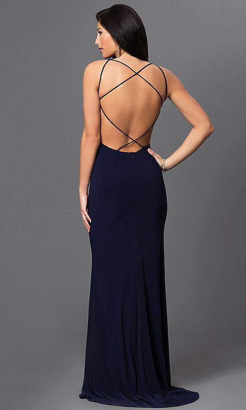Image of long sleeveless dress with illusion cut outs. Style: DJ-1985 Back Image