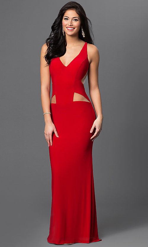 Image of long sleeveless dress with illusion cut outs. Style: DJ-1985 Detail Image 2