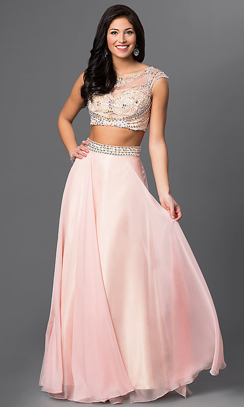 Image of long two piece beaded cap sleeve dress  Style: DJ-1880 Front Image