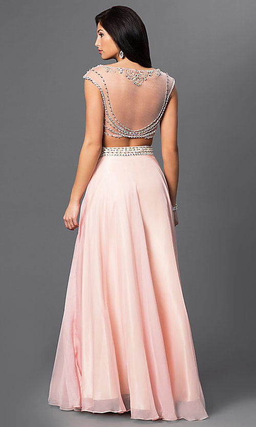 Image of long two piece beaded cap sleeve dress  Style: DJ-1880 Back Image