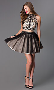 Image of short mock two-piece high-neck Dave and Johnny dress  Style: DJ-2179 Detail Image 1