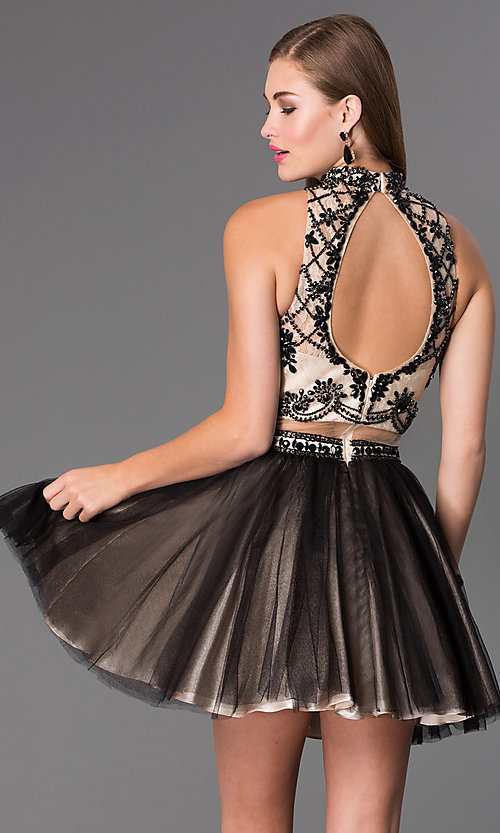 Image of short mock two-piece high-neck Dave and Johnny dress  Style: DJ-2179 Back Image