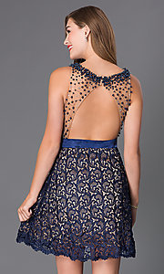 Image of navy blue open-back Dave and Johnny party dress. Style: DJ-2000 Back Image