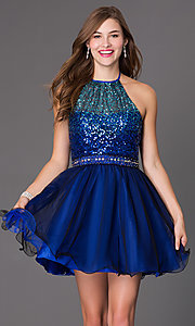 Short Masquerade Halter Dress with Sequin Bodice