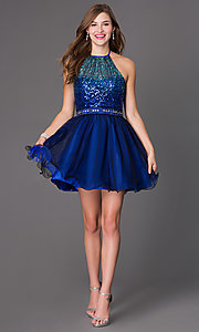 Image of short Masquerade halter dress with sequin bodice. Style: MQ-7030562 Detail Image 1