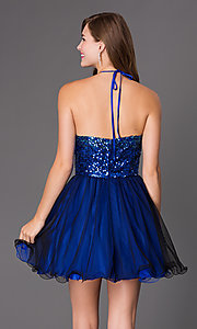 Image of short Masquerade halter dress with sequin bodice. Style: MQ-7030562 Back Image