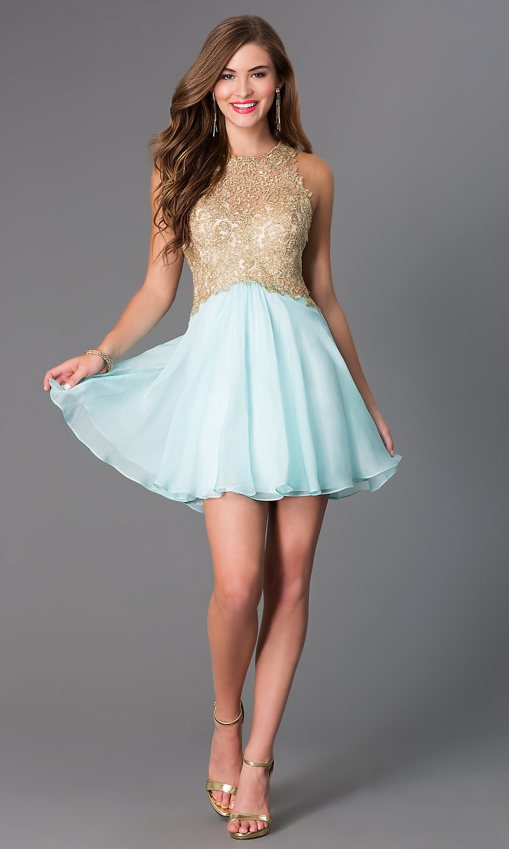 Fit-And-Flare Lace-Bodice Party Dress