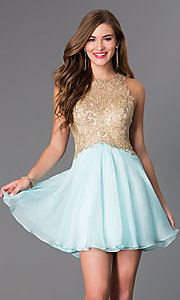 Blush Aqua Fit and Flare Gold Lace Party Dress