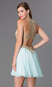 Image of fit-and-flare gold lace party dress. Style: BL-PG007S Back Image