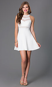 Image of cute affordable short ivory a-line party dress. Style: EM-DHX-1003-120 Detail Image 1