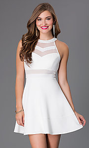 Image of cute affordable short ivory a-line party dress. Style: EM-DHX-1003-120 Front Image