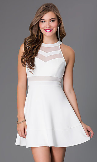 Cute Affordable Short Ivory A-Line Party Dress