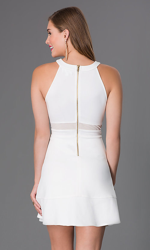 Image of cute affordable short ivory a-line party dress. Style: EM-DHX-1003-120 Back Image