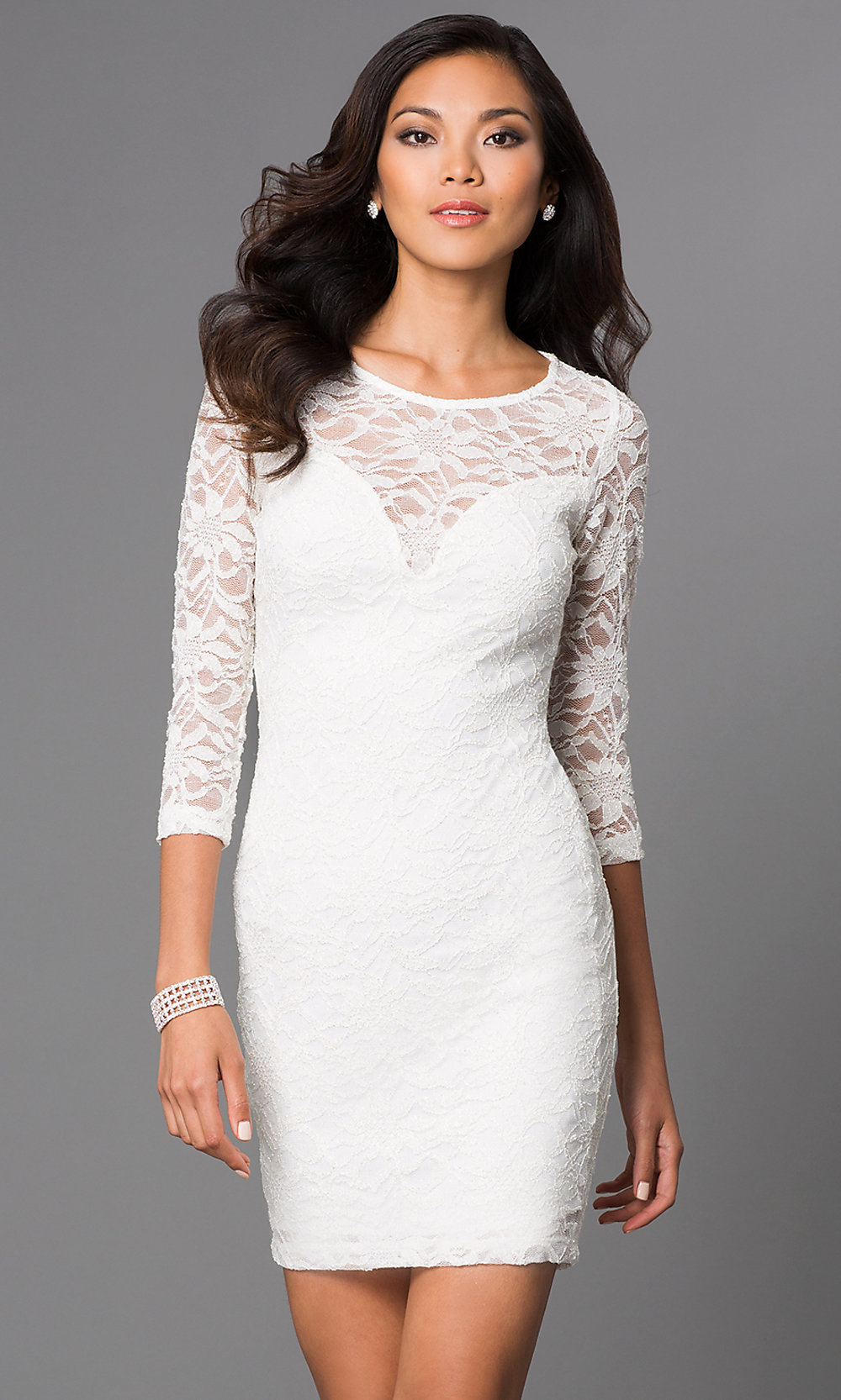 Short Lace Ivory-White Party Dress - PromGirl