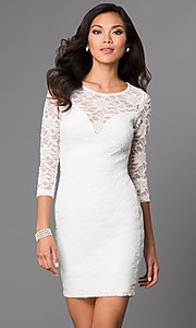 Image of short three-quarter sleeve illusion sweetheart lace dress Style: EM-DJH-1714-120 Front Image