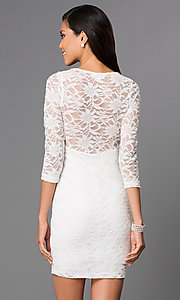 Image of short three-quarter sleeve illusion sweetheart lace dress Style: EM-DJH-1714-120 Back Image