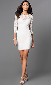 Image of short three-quarter sleeve illusion sweetheart lace dress Style: EM-DJH-1714-120 Detail Image 1