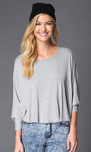 Gray Long Sleeve Open Back Shirt