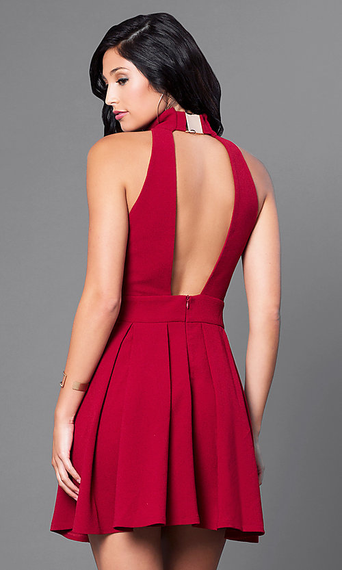 Image of open-back short high-neck homecoming party dress. Style: CQ-2442ADW Back Image