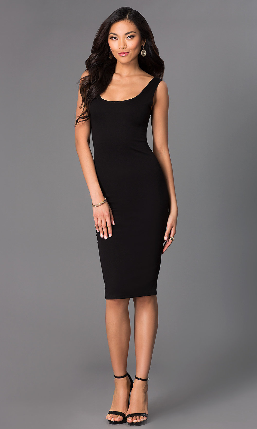 Scoop-Neck Sleeveless Midi Party Dresses- PromGirl