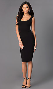 Image of sleeveless midi bodycon wedding-guests dress. Style: CH-2570 Detail Image 1