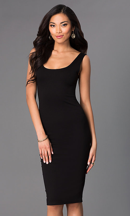 Image of sleeveless midi bodycon wedding-guests dress. Style: CH-2570 Front Image