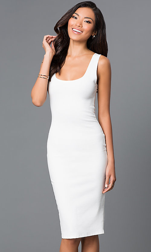 Image of sleeveless midi bodycon wedding-guests dress. Style: CH-2570 Detail Image 2