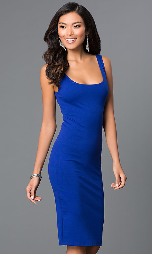 Image of sleeveless midi bodycon wedding-guests dress. Style: CH-2570 Detail Image 3