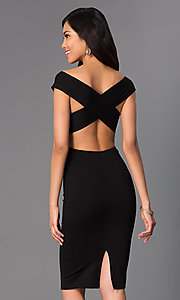 Image of off-the-shoulder midi sheath party dress. Style: CH-2569 Back Image