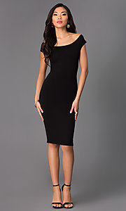 Image of off-the-shoulder midi sheath party dress. Style: CH-2569 Detail Image 1