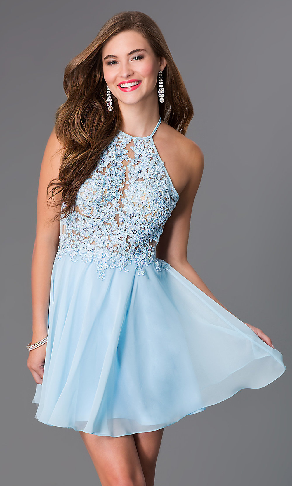 Light Blue Short Open Back Party Dress - PromGirl